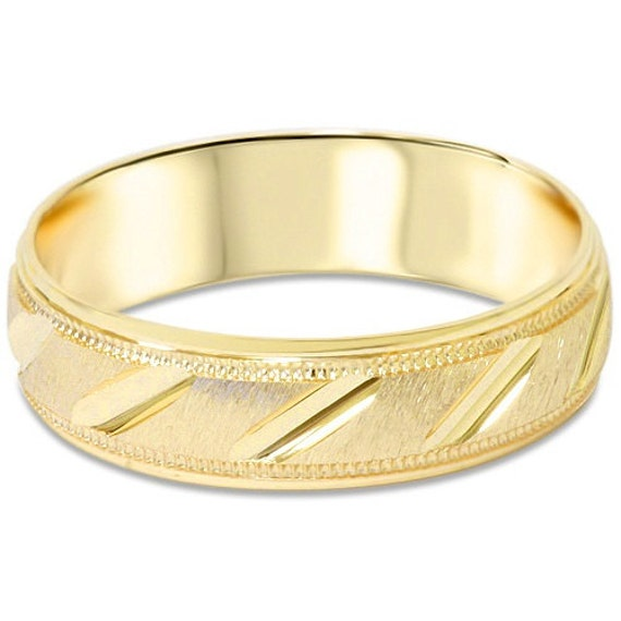 mens yellow gold wedding band 14 karat ring 6mm brushed size 7 12