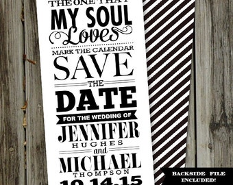 Hip Fonts Save The Date Black and White Printable Wedding Announcement