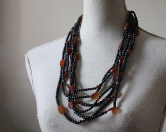 Vintage 1960s Bead Necklace. Brlack and Amber-Yellow Multistrand Necklace .