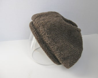 Hat slouchy beanie dark brown wool hand knit