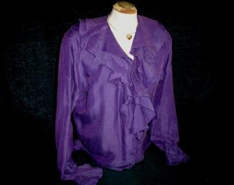 90s Lg 12 14 Silk Blend Ruffled Poet Blouse Purple
