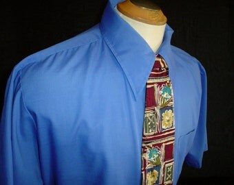 "70s 17 1/2"" S/S King's Road Men's Big Collar Tapered Shirt Blue Burgundy Silk Tie"
