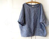 Oversized top with pockets, linen shirt, women linen tunic,. Sizes M, L, XL. Blue sky. Made to order. Loose fit. Large size.