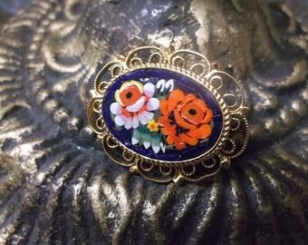 Mosaic Tile Rose Brooch