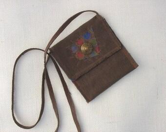 Brown Hemp Purse Passport Bag Messenger Bag by CedarDog Designs OOAK Gifts for Women