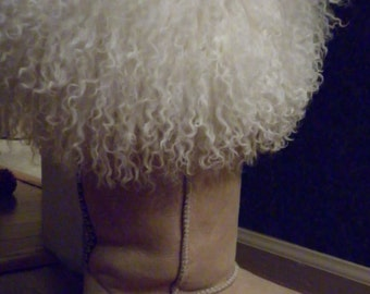 Real Natural Mongolian boot cuffs tibetan lamb fur detachable New made in usa tibet