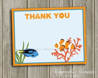 """INSTANT DOWNLOAD - Printable 5.5""""x4.25"""" flat Thank You Cards - Under the Sea or Fishing Party Collection - Memorable Moments Studio"""