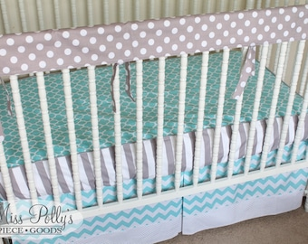 Crib Bedding- Bumperless Crib Sheet, Rail Cover, and Crib Skirt With Border- Baby Bedding Set-  Design Your Own