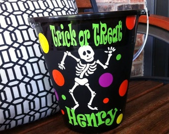 Personalized Halloween Bucket - Skeleton Bucket - Bucket with a Skeleton - Halloween Tub - Candy Holder