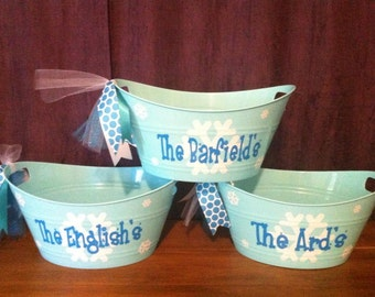 Personalized Easter Basket-Sand Pail-Party Favor-Blue Snowflake Tub-Best Easter Bucket-Gift Holder-Ice Bucket
