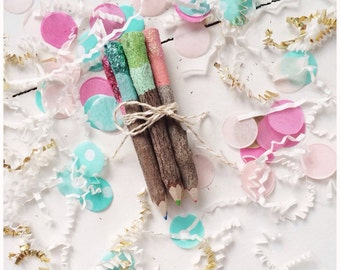 Painted Dipped and Glittered 4 inch Colored Twig Pencil bundle, Set of 5