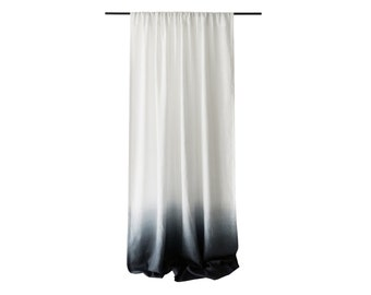 Ombr 232 linen curtain grey fade to white rod pocket by lovely home