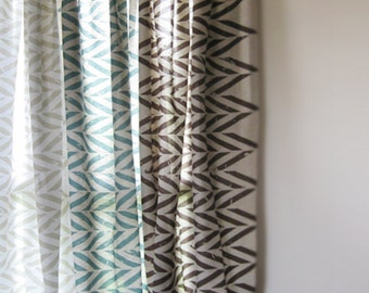 Blackout curtains Linen ZIGZAG printed drapes Custom color window treatments Unlined or blackout curtain panels