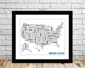 United States Typography Map 8x10 Print