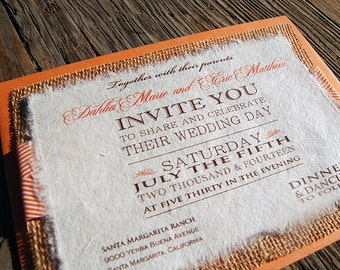 NEW- D-I-Y Modern Type Playbill Wedding Invitation With Orange Chevron Ribbon- Rustic Burlap Wedding Invitation
