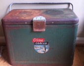 Vintage rusty metal Coleman cooler