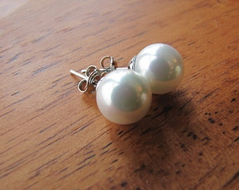 Large pearl stud earrings, South sea shell pearl, simple traditional pearl earrings on sterling silver ear posts, bridal pearl earrings