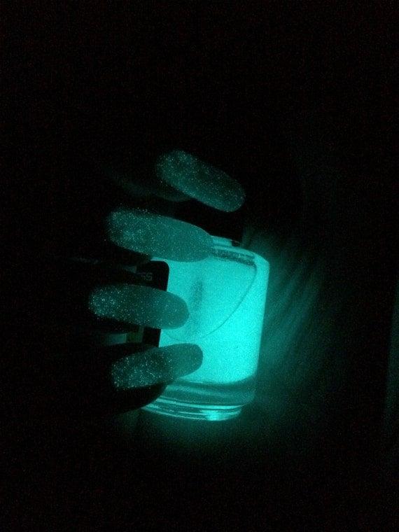 Aqua Constellation top coat Glow in the Dark nail polish by Comet Vomit