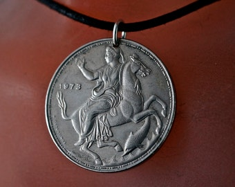 GREECE necklace - GREEK coin jewelry - COIN necklace pendant - greek myth - for him - . horse- stallion. vintage No.00206