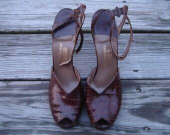 40's Peeptoe CROCODILE Shoes, Womens 9
