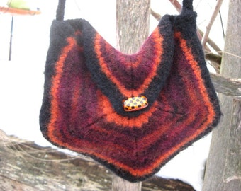 5-Sided Shoulder Bag, Knit and Felted in Orange, purple and Black with Glass Bead
