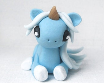 Pastel Blue Baby Unicorn Polymer Clay Figurine or Necklace