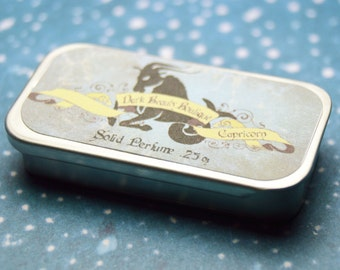 Solid Perfume - Capricorn - Astrological Perfume Crème Tin - Cedar Wood, Honey, Lilac, Rose and Vanilla