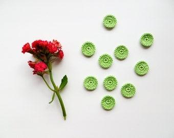 Crochet Circle Appliques, Tiny Small Cute Circles, Decorative Motifs, Spring Green, Set of 10