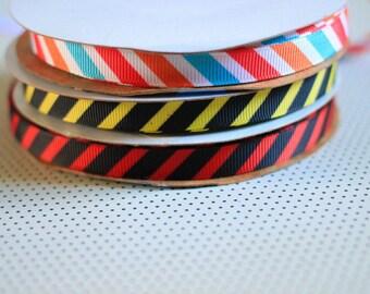 "3 fun Preppy Stripes Grosgrain Ribbon - 3/8"" Wide - Bright Colors - 1 Yard"