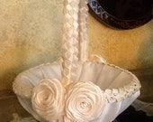 Wedding Flower Girl Basket, Custom made to your colors with Satin Flowers, Ribbons and Swarovski Crystals