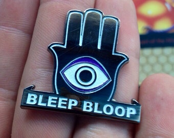 Bleep bloop glowing metal protection pin