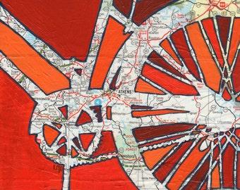 Bike Athens--bike art of original map painting  - Athens, Georgia, University of Georgia, UGA large print 13x13