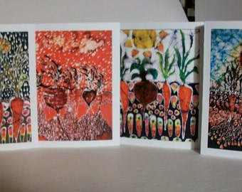 Garden Vegetables  Batik cards set   -  Garden  farm series   -   Set of four blank cards