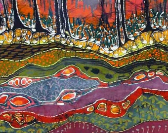 Layers Below the Earth - Forest Floor  -   very large, giclee print  - original batik