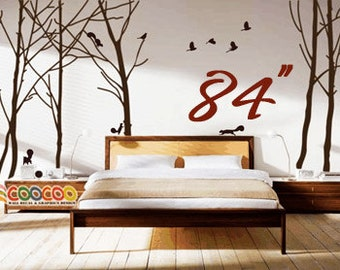 "Wall Decal, wall Stickers ,Tree Wall Decals ,Wall decals, Removable, Tree and Birds, happy forest 84""H"