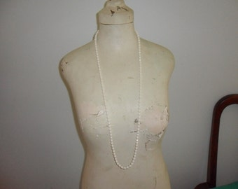 Authentic Vintage Very Long White Milk Glass Necklace