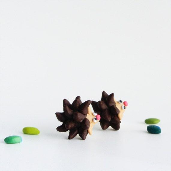 Hedgehog Post Earrings - Cute Animal Jewelry - Woodland porcupine studs - Nature lovers