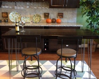 Oak Bar Height Table - Stained Dark - Hairpin Legs