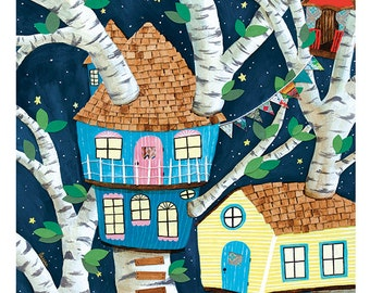 Large Print - whimsical treehouse night sky kids room - by Paper Taxi