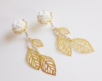 "1/2 inch Dangle Gauges Ear Plugs Choose Rose Color 14mm 9/16"" Gauged Earrings 7/16 000g Dangle Plugs Gold Leaf Dangly Plugs, White Wedding"