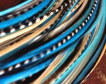 "Blue Feather Extensions XL Hair Feathers, Turquoise Blue 13"" Ready to Install Bonded Tip, Real Feathers for Hair Extensions"