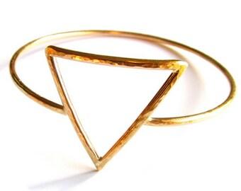 Triangle Bangle, Gold Hammered Bracelet, Feminine Symbol, Inverted Triangle, Minimilist jewelry, Geometric Design, Gift Idea, Handmade, Boho