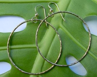 Gold Hoop Earrings, Simple Hammered Hoops, Handmade Maui, Christmas Gift Idea, Minimalist, Rose Gold, Elegant, Everyday Wear, 3 Sizes