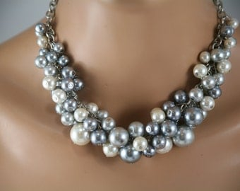 Gray pewter and ivory cluster pearl necklace - bridesmaid jewelry