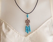 Leather necklace with Turquoise Beads, a Celtic knot pendant and a Brass clasp, Gemstone jewelry