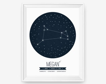 Personalized Custom Star Constellation, Astrological  Zodiac Art Print