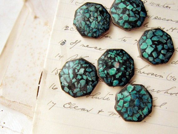 turquoise and brass beads - flat back double drilled - 1930s bracelet connectors - rare - set of 6