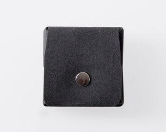 Square Origami Washable Paper Coin Purse in Punaluu Black / Vegan Purse