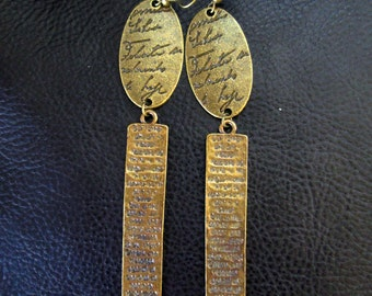 Modern statement earrings, antique brass tone geometric shoulder dusters, Our Father prayer text