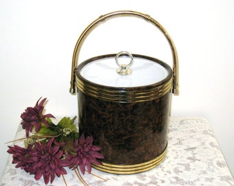 Vintage Brown Marbled Ice Bucket / Clear Lucite Lid / Mid Century Man Cave Decor / Brass Handle
